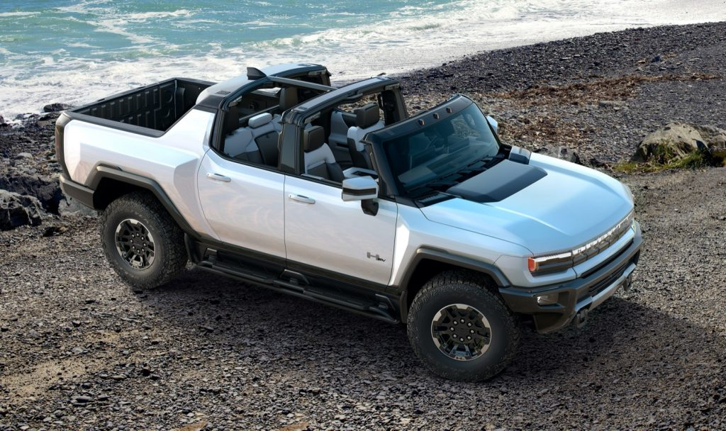 2022 GMC Hummer EV Pickup - Edition 1 - Exterior 016 - front three quarters - rocky beach