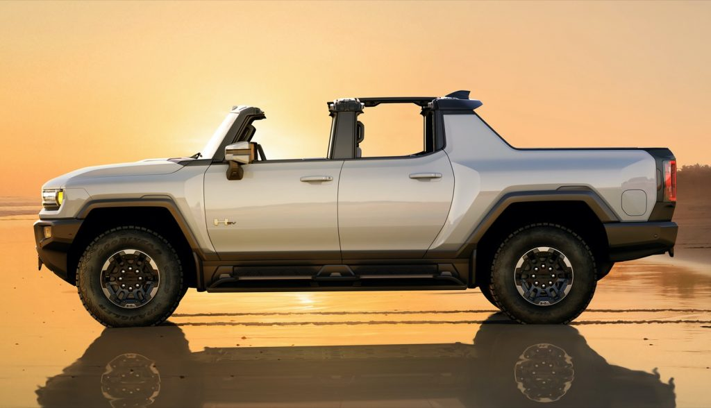2022 GMC Hummer EV Pickup - Edition 1 - Exterior 056 - side profile - beach