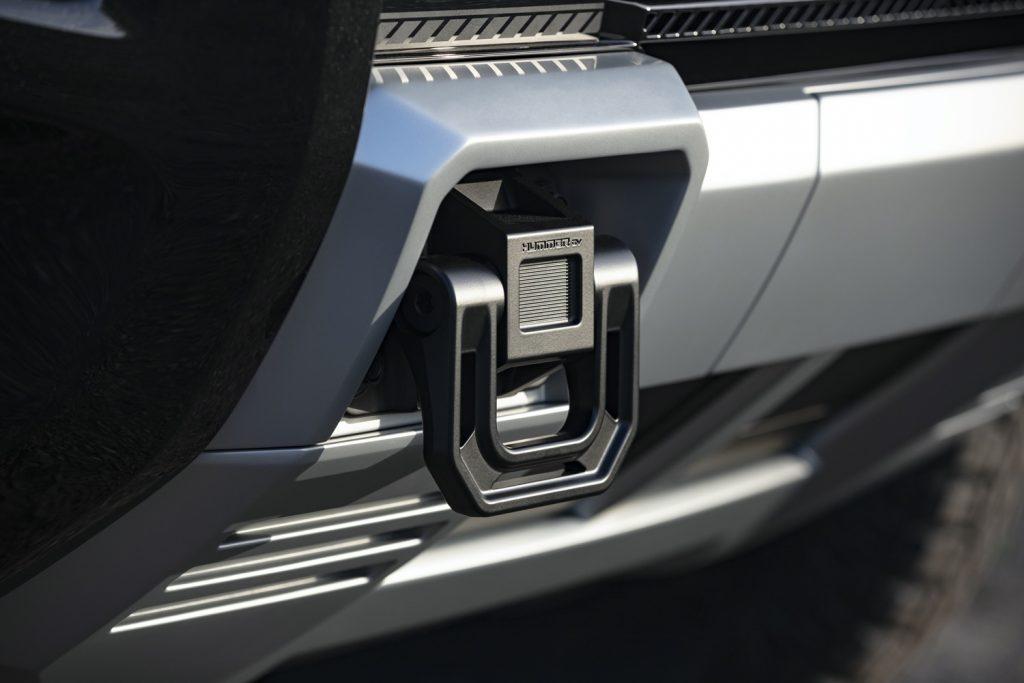 2022 GMC Hummer EV Pickup - Edition 1 - Exterior 097 - front tow hook with Hummer EV logo script