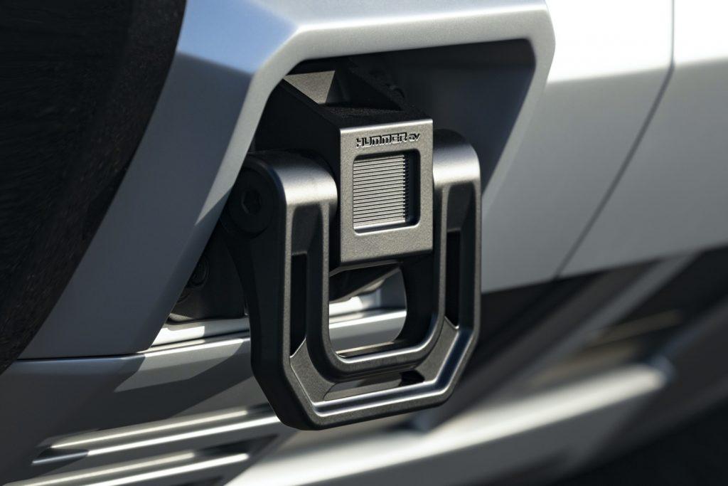 2022 GMC Hummer EV Pickup - Edition 1 - Exterior 098 - front tow hook with Hummer EV logo script