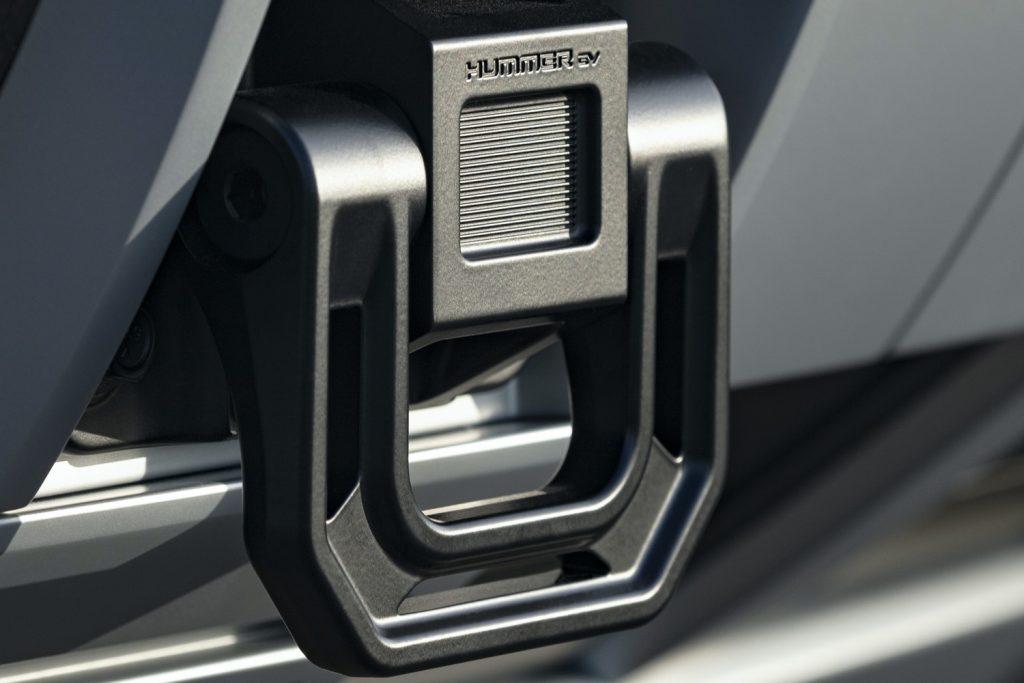 2022 GMC Hummer EV Pickup - Edition 1 - Exterior 099 - front tow hook with Hummer EV logo script