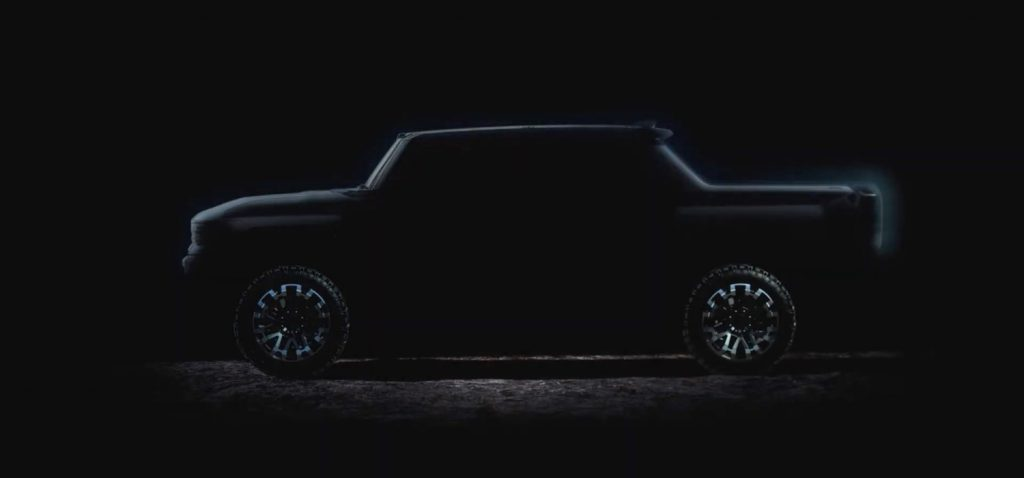 GMC Hummer EV - Debut Reveal Announcement - July 2020 - Teaser Video - SUT - pickup truck - silhouette profile - screen grab 004